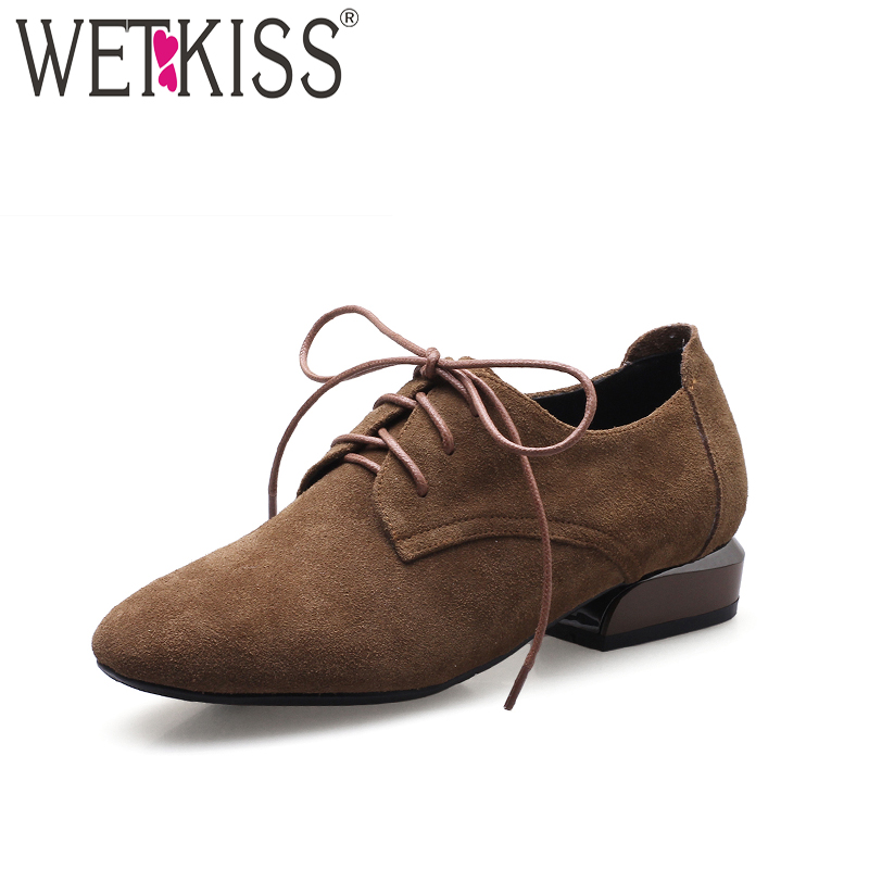 WETKISS New Square Thick Heels Women Pumps Square Toe Cow Suede Lace Up Cover Instep Footwear