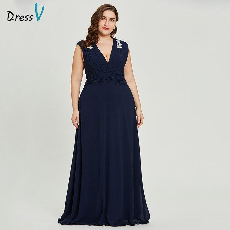 Dressv black v neck plus size   evening     dress   elegant a line sleeveless wedding party formal   dress   appliques   evening     dresses