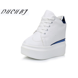 2019 Spring Breathable Mesh Sneakers Hidden Increasing Shoes Women Wedge Casual Shoes Lace High Heels 12 Cm Platform Shoes