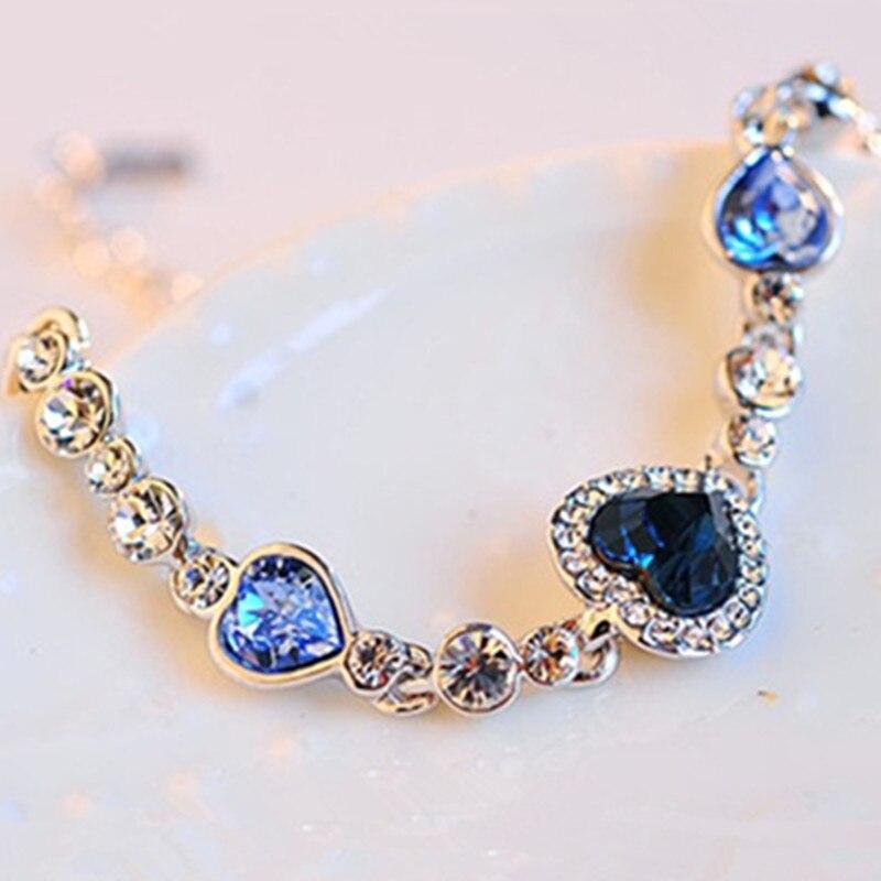 Fashion Hot Female Heart Crystal Bracelets For Women Girls Ocean Blue Sliver Plated Crystal Heart Bracelet Wedding Jewelry Gift