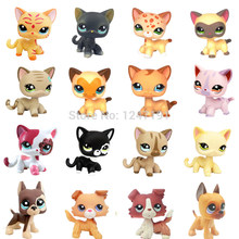 Véritable rare animalerie lps jouets petit cheveux courts chat blanc rose jaune tabby 2291 391 chien collie grand danois teckel ancienne version(China)