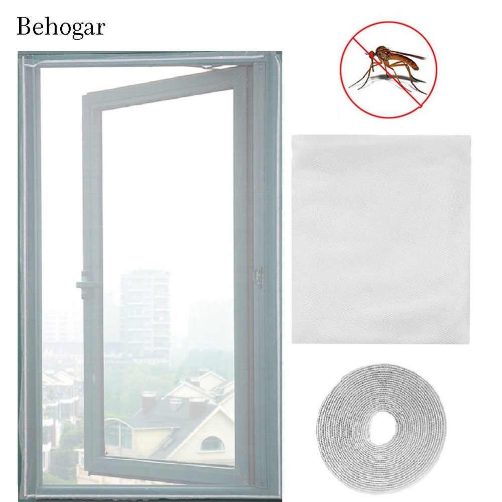 Behogar, Protector de mosquitera para ventana DIY, Protector contra insectos y insectos, cortina de malla para pantalla con gancho autoadhesivo y cinta de bucle, 160x134cm