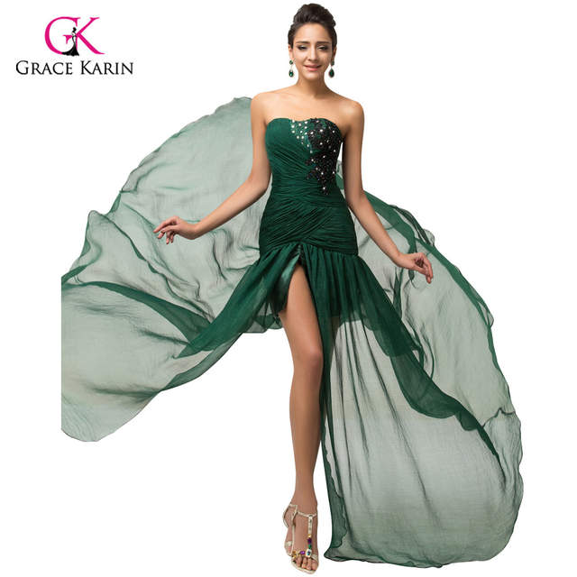 Grace Karin Elegant Long Dark Emerald Green Mermaid Prom Dresses 2017  Beaded Chiffon Slit Ruffles Evening e4f8c8f3af0a