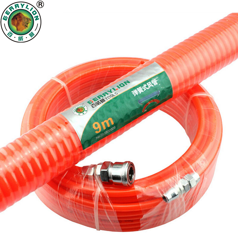 BERRYLION Air Compressor Hose 6/9/12/15/20/30M Polyurethane With Pneumatic Components Spring Tube Portable Coupler PP20+SP20