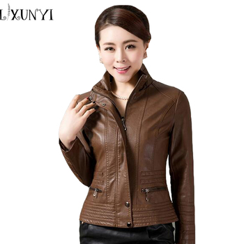 4xl 5xl High Quality Women Leather Jackets Brown Red Blue Stand Collar Faux Leather Coat Zipper Women Plus Size Clothing Outwear