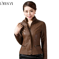 Free Shipping Women S 2014 Short Design Slim Stand Collar Large Size Leather Coat Female PU