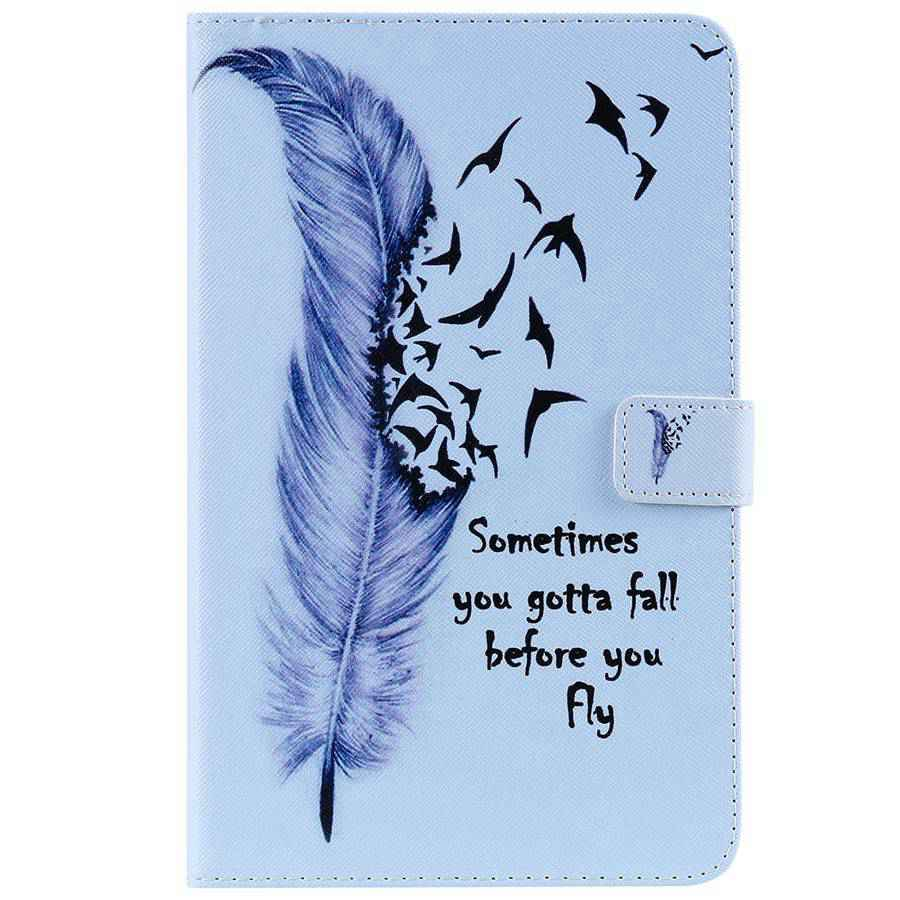 PU Leather Case For Samsung Galaxy Tab A 8.0 2018 SM-T387 3D Colorful Painting Cover For Samsung Tab A 8.0 Wallet Case+Film+Pen