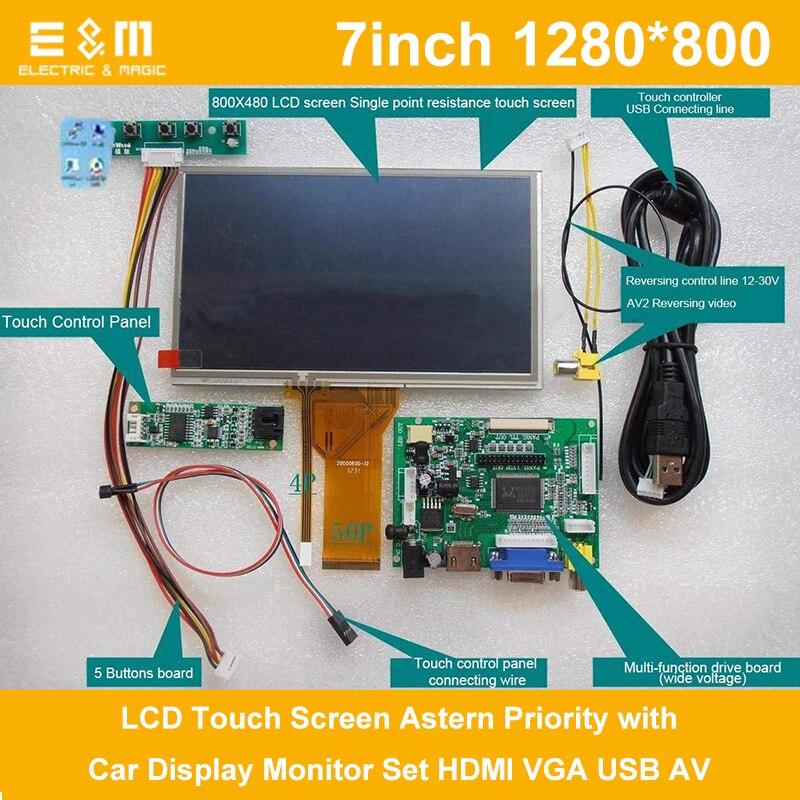 Tous les Nouveaux 7 pouce 1280*800 ips Framboise Pi 3 LCD Tactile Écran Priorité Arrière avec Affichage De Voiture Moniteur ensemble HDMI VGA USB AV