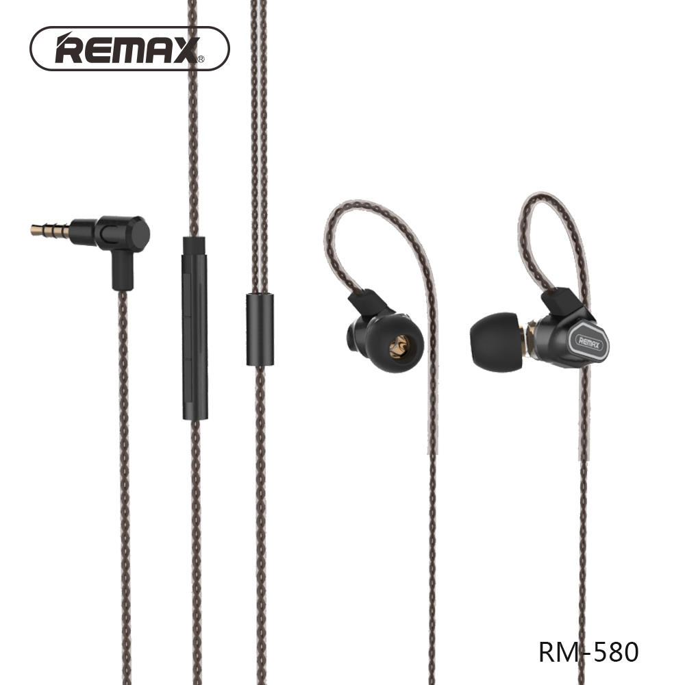 Remax RM-580 High Quality In-ear Style High-definition Microphone Wire Control Dual Active-coil Earphone Stereo Music Headset remax rm 610d base driven high performance stereo earphone with microphone and in line control rm 610d