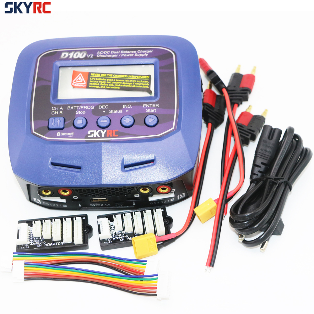 Skyrc D100 V2 Charger Twin-Channel AC/DC LiPo 1-6s 2x100W Dual with Bluetooth Balance Charger Discharge for Lipo Li-ion Battery skyrc e6 5 amp 6s ac 100 240v compact lipo battery balance charger