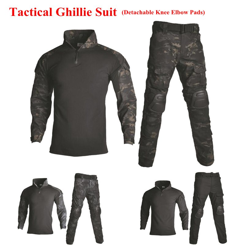 Camouflage tactique Ghillie costume hommes Paintball Airsoft Sport de plein air uniforme avec protection genouillères coudières vêtements de chasse