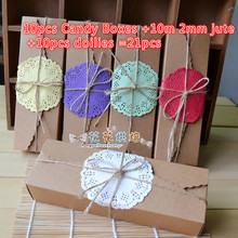 21pcs/lot New style DIY Gift Small Kraft Paper Boxes Party Wedding Bomboniere Favor Macaron Candy Boxes(China)