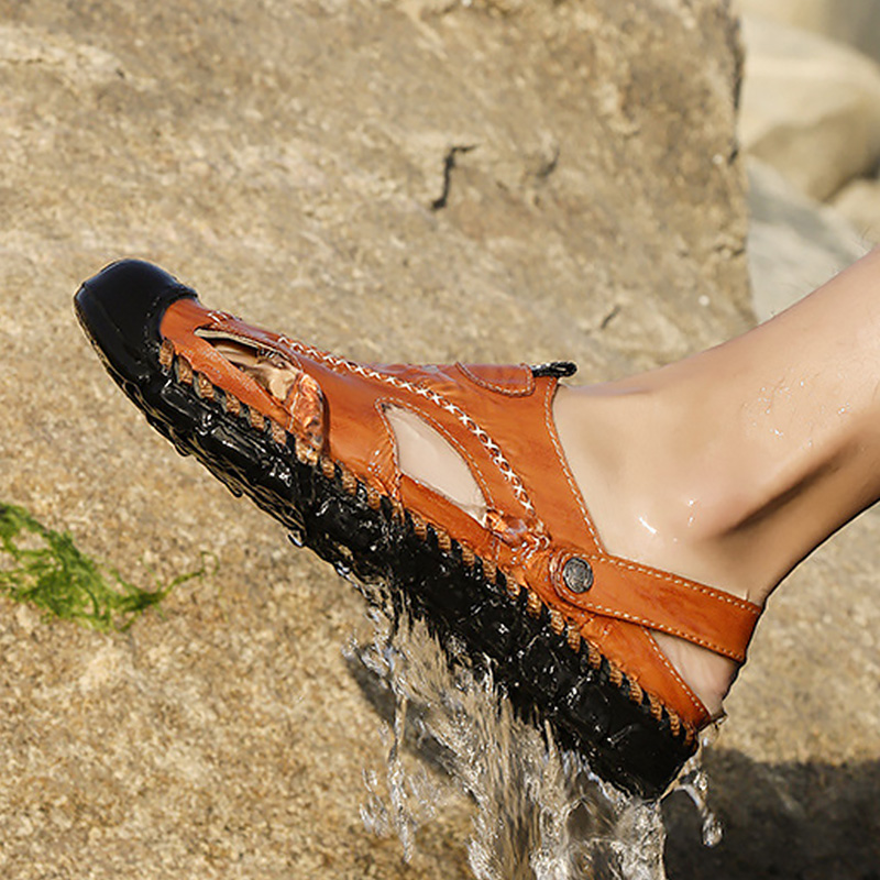 192457c2c Большие размеры 45-46 кожаные сандалии мужские летние сабо Швейные слипоны  Массажная Мужская обувь Открытые