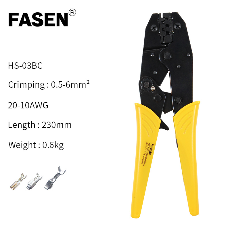 HS 03BC Crimping pliers 8 jaw for plug spring tube insulated non insulated crimping cap coaxial cable connector kit clamp tools in Pliers from Tools