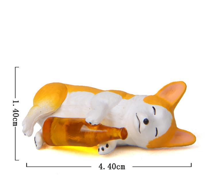 1 Pc Cute Creative wine bottle Corgi Dog Action Figure Toy Cartoon Animal dog Model PVC Ornament Doll Toys gift-3