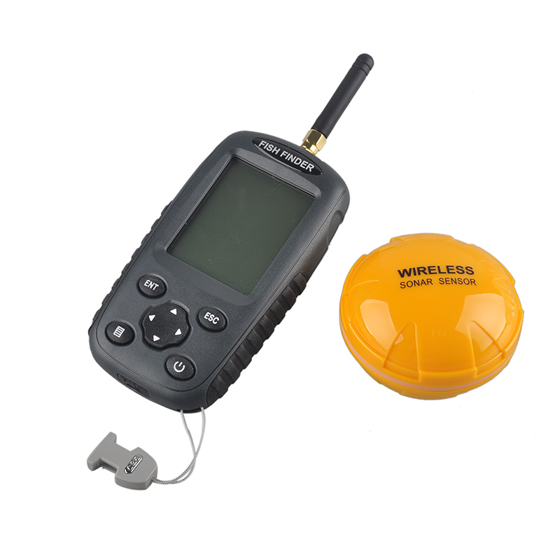 New FF998 Fish finder Upgrade Russian menu Rechargeable Waterpoof Wireless Fishfinder Sensor 125KHz Sonar Echo Sounder ffw718 upgraded rechargeable russian english menu wireless fish finder 125khz sensor sonar echo sounder waterproof fishfinder