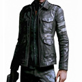 Resident Evil Hot-selling three-dimensional pockets Mens leather jacket slim fit leather coat men Size M~3XL