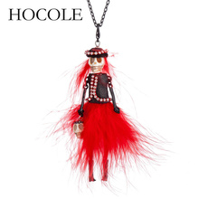 HOCOLE New Party Halloween Skull Head Necklace Black Red Feather Dress design Doll Pendant Long Chain Fashion Jewelry