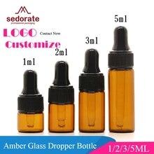 Sedorate flacon compte gouttes en verre ambre, Mini flacon Pipette en verre cosmétique, 1ML/2ML/3ML/5ML, huiles essentielles, LZ018, 50 pièces/lot