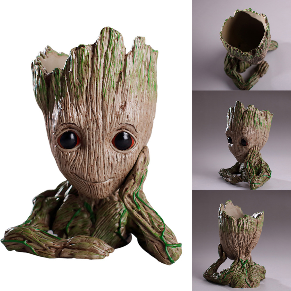 Flower Pot Baby Groot Flowerpot Planter Action Figures Toys PVC Hero Model Baby Tree Man Cute Model Toy Pen Pot Christmas Toy