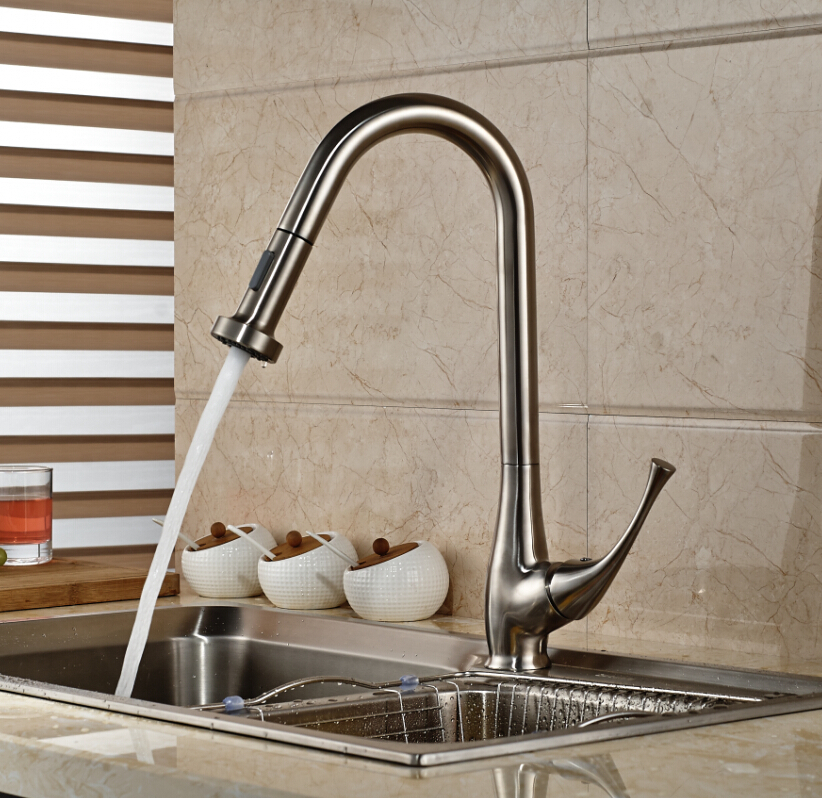 Pull Out Sprayer Brushed Nickel Kitchen Faucet Deck Mounted Vanity Sink Mixer Tap Single Handle Hole