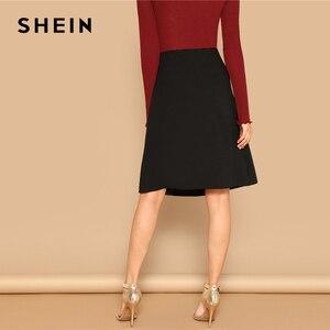 Image 3 - SHEIN Black Knot Side Solid High Waist A Line Knee Length Skirt Women Office Lady Spring 2019 Summer Elegant Workwear Skirts