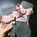 1 Pair 2016 New Fasion Girls Ladies Elegant Pink Striped Pearl Bow Handmade Gloves Thick Warm Gift for Girls