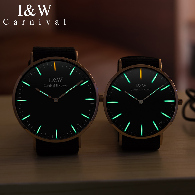 Fashion Tritium Luminous Couple Watch CARNIVAL Ultra Thin Quartz Watch Sapphire Waterproof Nylon Band Couple Watches For Lovers