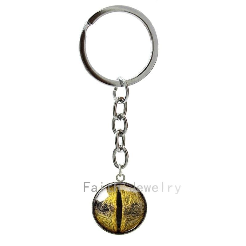Steampunk Dragon Eye key chain fashion golden yellow eyes Snake Eye Ball art picture keychain Personalized  jewelry 1187