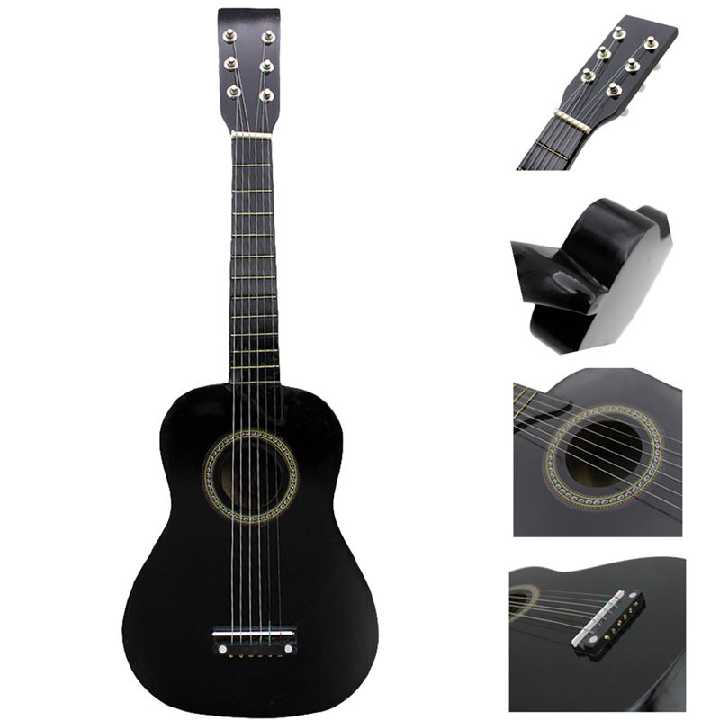 ABGZ-IRIN Mini 23 Inch Basswood 12 Frets 6 String Acoustic Guitar with Pick and Strings for Kids / Beginners(black) image