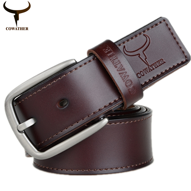 COWATHER fashion design cow genuine leather 2016 new men belts good quality male belt for men newest pin buckle free shipping