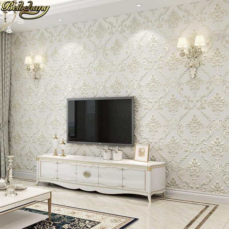 Beibehang 53X300cm European Damascus Floral Wallpaper For Walls 3 D Textured Flooring Wall Paper Living Room Bedroom Decoration