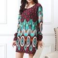 2016 nueva Largo-manga Del O-cuello de la cachemira suéter suéteres tops de gran tamaño de impresión ocasional vestido de la manera delgada de algodón y poliéster