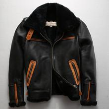 Axirex fly B3 flight jacket real fur coat men sheepskin coat winter genuine leather jacket men