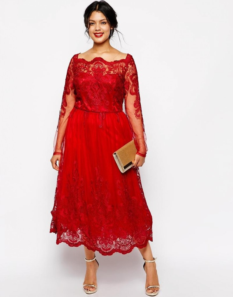 09d5bf2ee4 Classy Red A-Line Lace Applique Plus Size Mother Of The Bride Dresses Long  Sleeve Tea-Length Party Prom Dress Evening Gown