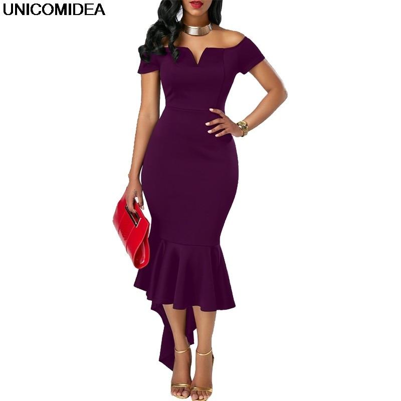 Sexy Off Shoulder Women Dress 2019 Robe Femme Slash Neck Fishtail Summer  Party Dress Mermaid Bodycon 5d87bc0ab6ff