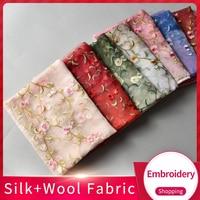 2019 Silk Wool Blending Scarf Women Handmade Embroidery Shawls and Wraps for Ladies Oversize Shawl Foulard Chiffon Silk Scarves