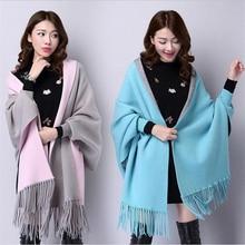 Trendy 2016 Autumn Imitation Cashmere Batwing Sleeve Thicken Tassel Knitted Poncho Fashion Women Knitting Cardigan Shrugs Shawl
