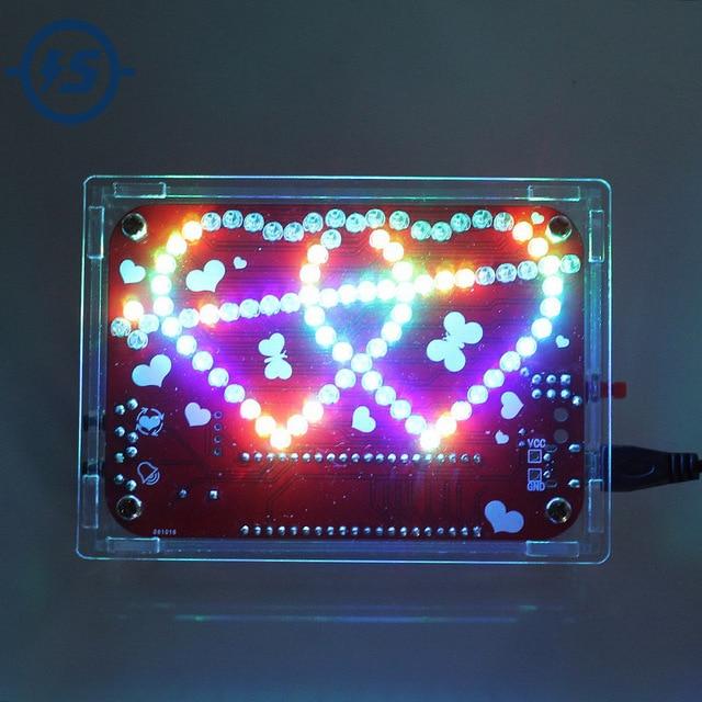 Eletrônico criativo diy kit rgb led duplo coração em forma de música de luz com kit de concha electronique colorido diy kit eletrônico