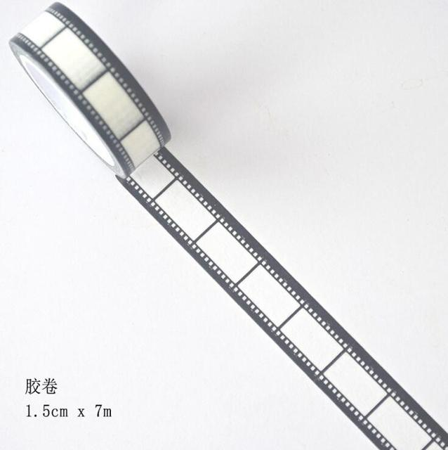 JI204 1.5 cm de Ancho Rollos de Película Decorativa Washi Tape DIY Scrapbooking Cinta Adhesiva School Office Supply