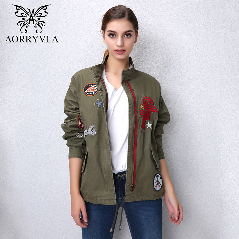 AORRYVLA New Fashion Women's   Basic     Jackets   Autumn 2017 Cotton Full Sleeve Embroidery Rivet Regular Length Casual Women   Jacket