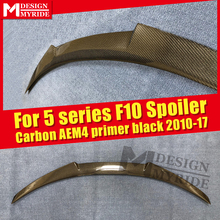 F10 Spoiler Rear Wing AEM4 style Carbon Fiber Fits For F10 520i 525i 528i 530i 535i 550 rear diffuser stem Spoiler Tail 2010-17 стоимость