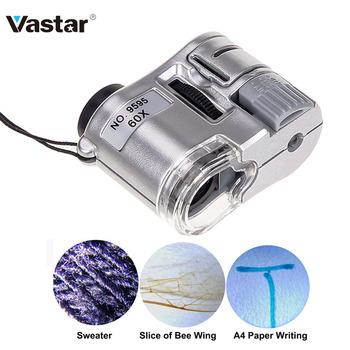 60X Handheld lupa Mini kieszonkowy mikroskop lupa detektor walut jubiler lupa z LED Light tanie i dobre opinie Vastar VHX0069SR Plastic 45*20*30 LED white light and violet light 55*30*60 mm 3 button battery