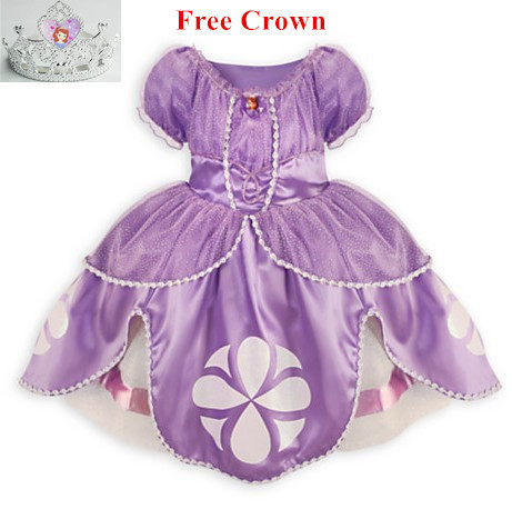2016 Princess Sofia Dress 2 Colors Costume Vestido Disfraz Princesa Sofia Princesinha Sofia the First Roupas Infantil Meninas сувенир sofia the first mia mini bean bag plush 1 2
