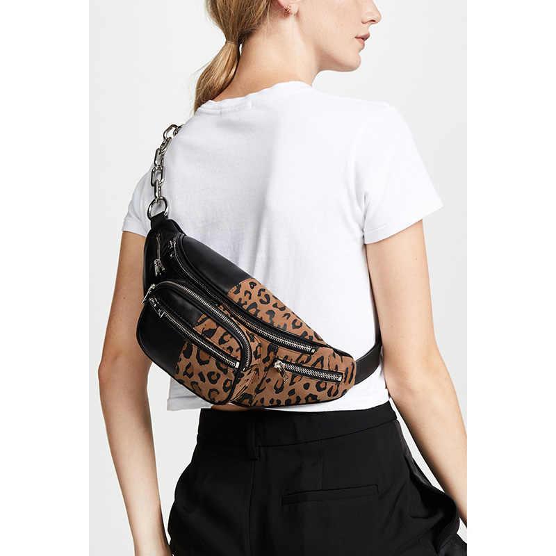 569119c58c Women s Horse Hair Handbags Leopard Crossbody Bag Leather Wide Belt Chest  Bags Chic Girls Causal Shoulder
