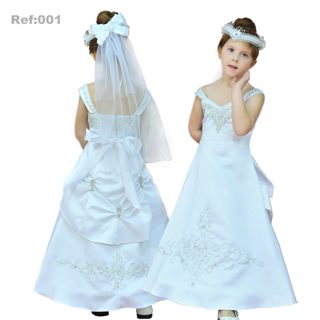 31aeed11a54 Factory Wholesale Girl Dress For 3-8 Years Flower Girl Dresses Embroidery  Satin White First Holy Communion Gown Plus Size X-001