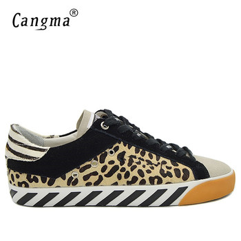 CANGMA Leopard Sneakers Men Designer Shoes Genuine Leather Horse Hair Casual Man Shoes Handmade Male Comfortable Footwear