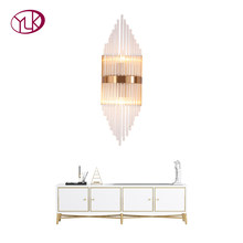 Youlaike New Modern Crystal Wall Sconce Luxury Clear Glass Wall Light Fixtures Gold LED Wall Lamp Home Decoration Lighting(China)