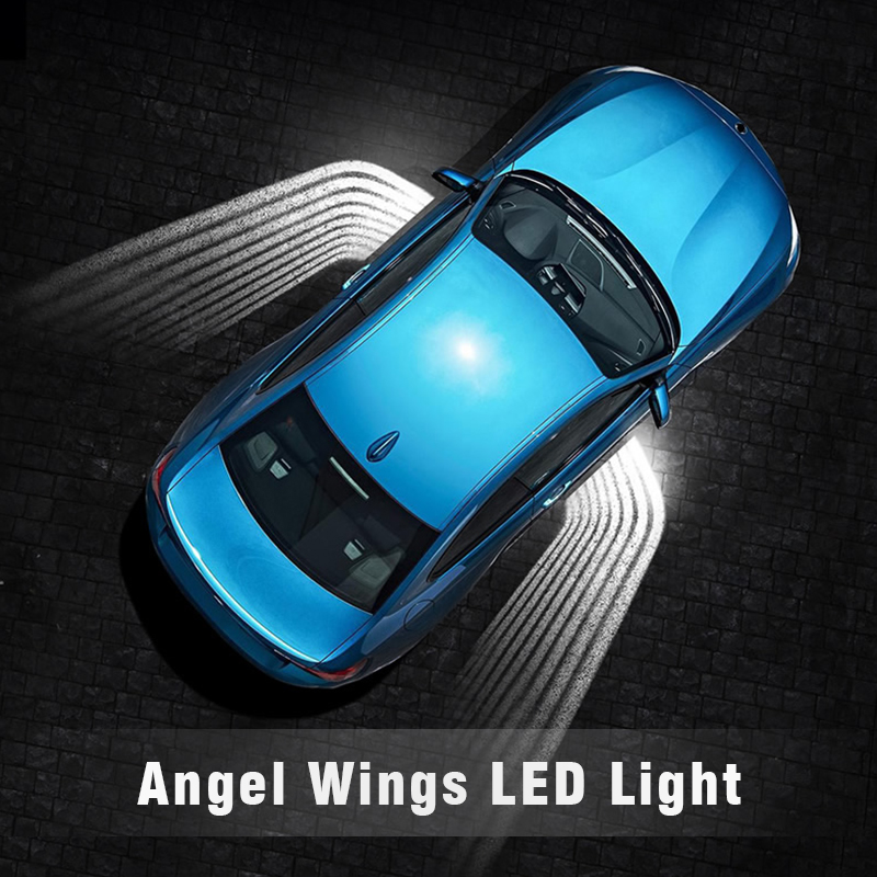 OKEEN 12V/24V Car Angel Wings LED lights welcome light of Car Door Light Projector Ghost Shadow Puddle White / RGB fit all cars sunset horseman gobo door led projector light welcome lamp cree q5 ultra bright puddle light for lincoln corvette vw dodge 1527