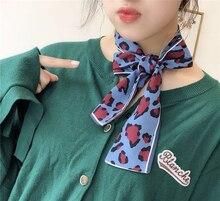Silk Scarf 2019 Leopard Animal Print Women Small Handle Bag Ribbons Female Neckerchief Head Long Scarves